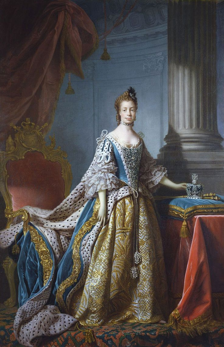 Portrait of Queen Charlotte, wife of George III, painted by Allan Ramsay in 1762.