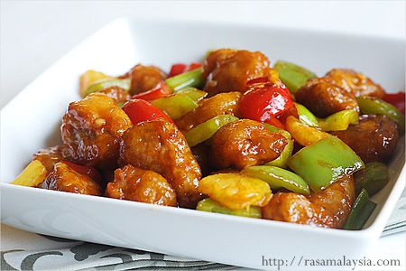 sweet and sour pork - basicly you can also use fish,chicken,crab or shrimp with sweet and saur and it will always taste sooo good....love this recipe.