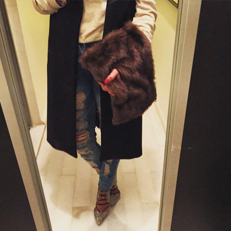 No.19 Leather & Fur Clutch