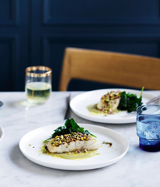 Grilled fish with green olive and pistachio