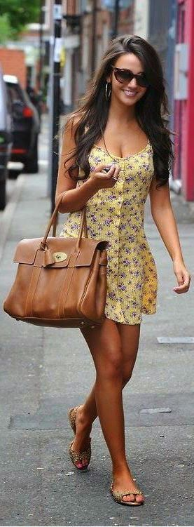 Looks simple, comfy and cute...  street style yellow floral dress