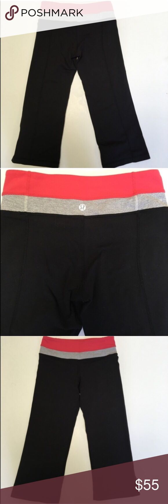 """Lululemon Black Coral Capri Crops Black with coral and grey at the top. Lululemon logo on back center waistband. Small pocket at front left. Unstretched, 24"""" at waist and about 20"""" inseam. In outstanding condition. lululemon athletica Pants Leggings"""