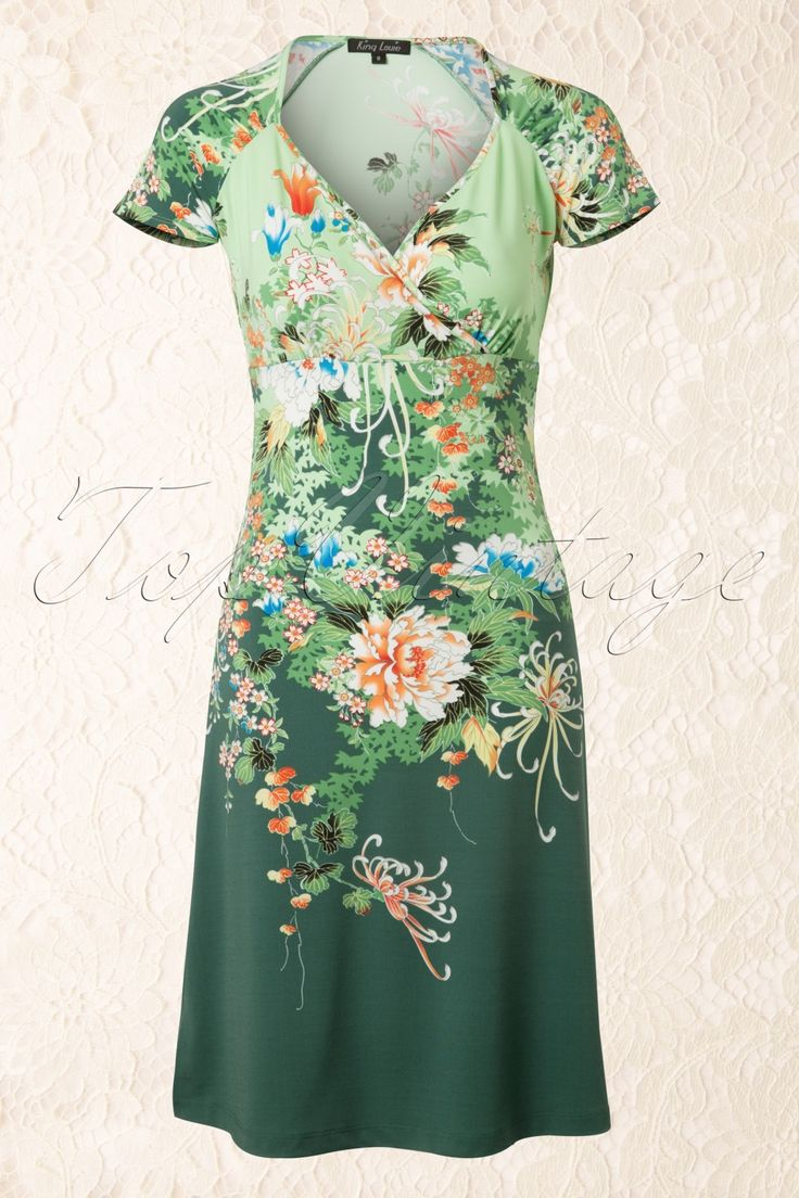 King Louie - 50s Gina Dress Lotus in Green