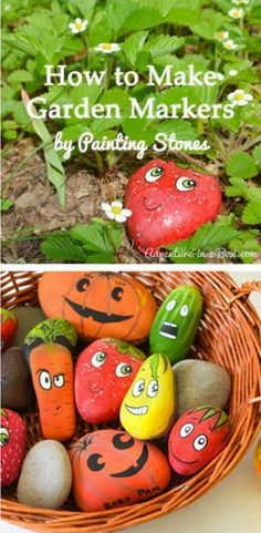 Make Cute Garden Markers with Painting Stones    Get the tutorial via adventure-in-a-box