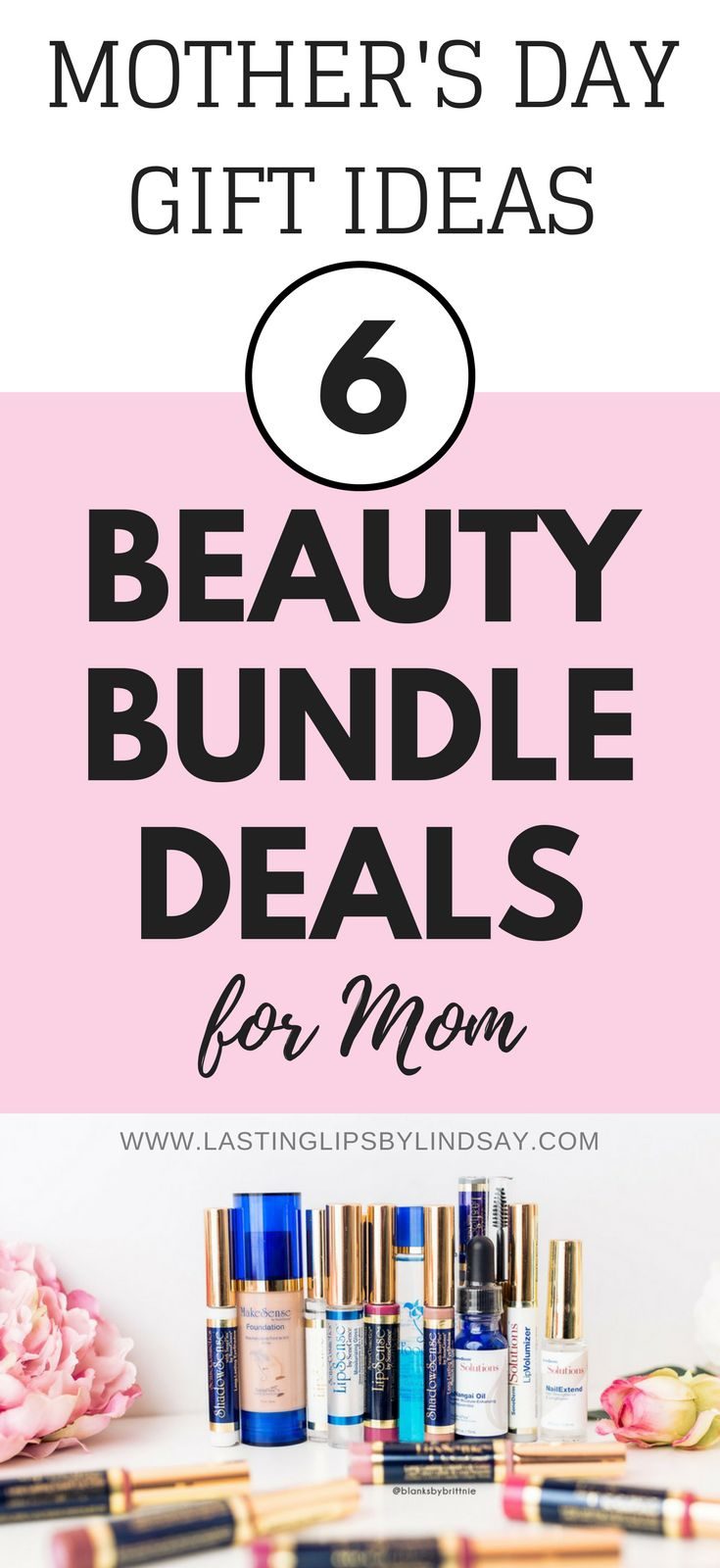Are you looking for Mother's Day gift ideas for mom? I've put together 6 beauty bundles that would be perfect for pampering that special lady in your life. Everything from long-lasting lipstick, to cleansers, skincare, and long-lasting makeup to help her feel beautiful on the inside and out. www.lastinglipsbylindsay.com | LipSense distributor | SeneGence | ShadowSense | beauty products | makeover | anti-aging | best mother's day gifts | LipSense Starter Kit | lipgloss | eyeshadow | gifts for…
