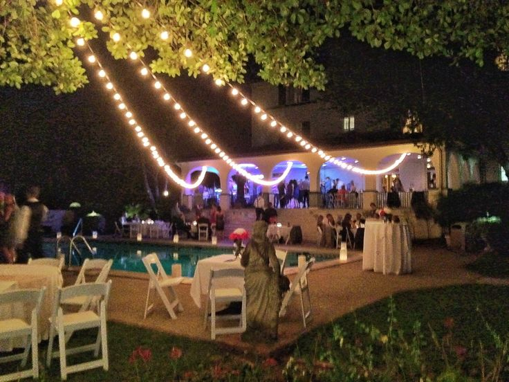 cafe lights by poolside make for incredible wedding lighting! The 1927 Lake Lure Inn & Spa