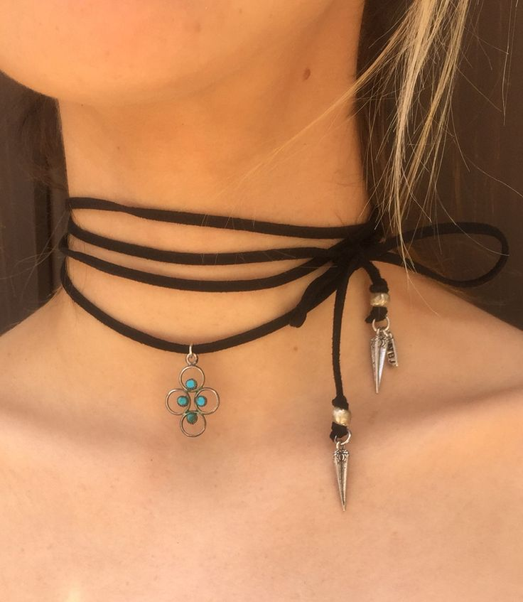 """Vintage sterling silver charm with turquoise center stones on black vegan suede chord. Silver spear drops and accent beads. Pendant circa early 1920's. Adjustable. One size fits all. Approximately 64"""""""