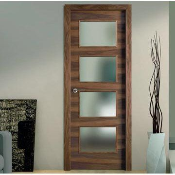 Sanrafael Lisa Glazed Fire Door - L62VA4 Grain Balanced Walnut Prefinished. #directdoors