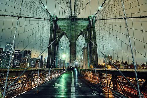 Brooklyn Bridge at Night, New York City (by andrew c mace)