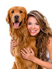 Собаки Белый фон Шатенка Улыбка Ретривер Язык (анатомия) Девушки Животные