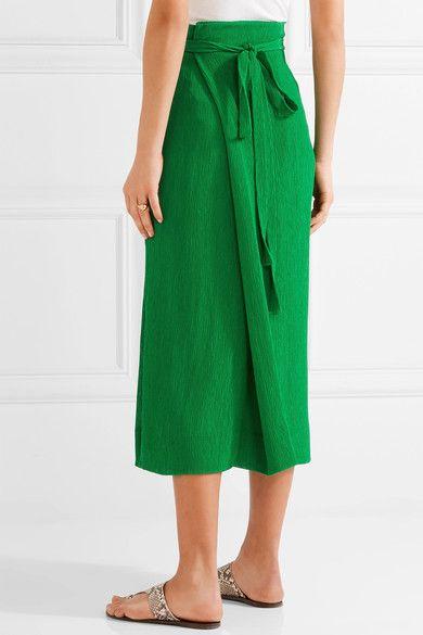 Protagonist - Plissé-crepe Wrap-effect Midi Skirt - Bright green - US10