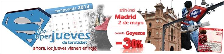 Aviso importante. Este jueves viene en rojo... http://www.toroticket.com/288-entradas-toros-madrid-jueves-2-mayo