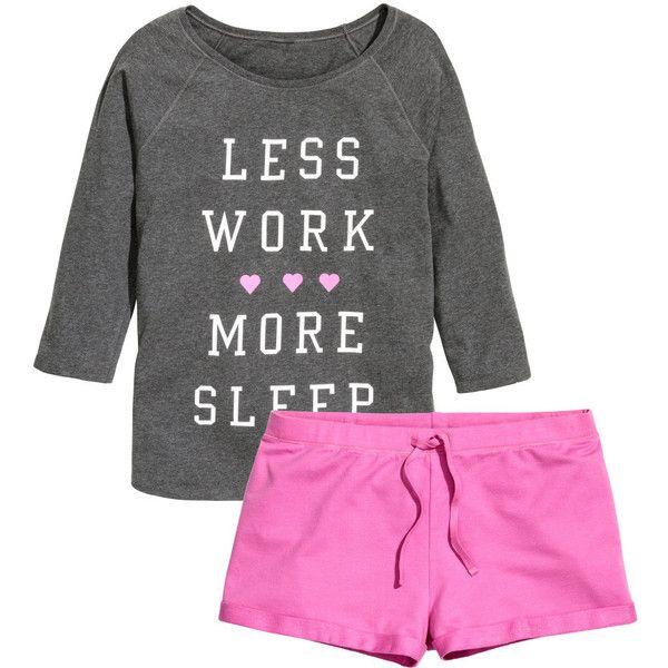 H&M Jersey pyjamas ($20) ❤ liked on Polyvore featuring intimates, sleepwear, pajamas, pyjama, dark grey, jersey knit pajamas and h&m