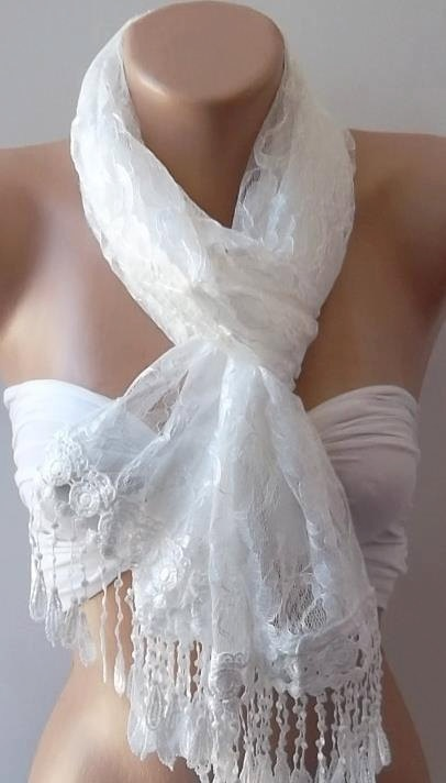 White   Elegance  Shawl / Scarf with Lacy Edge by womann on Etsy, $17.90: Great Ideas