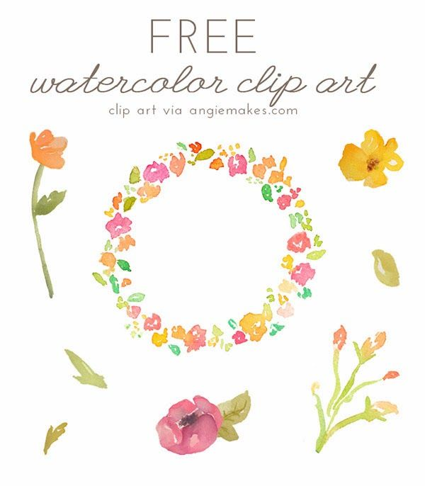 free, clip art, watercolor, floral, floral wreath, flowers clipart,
