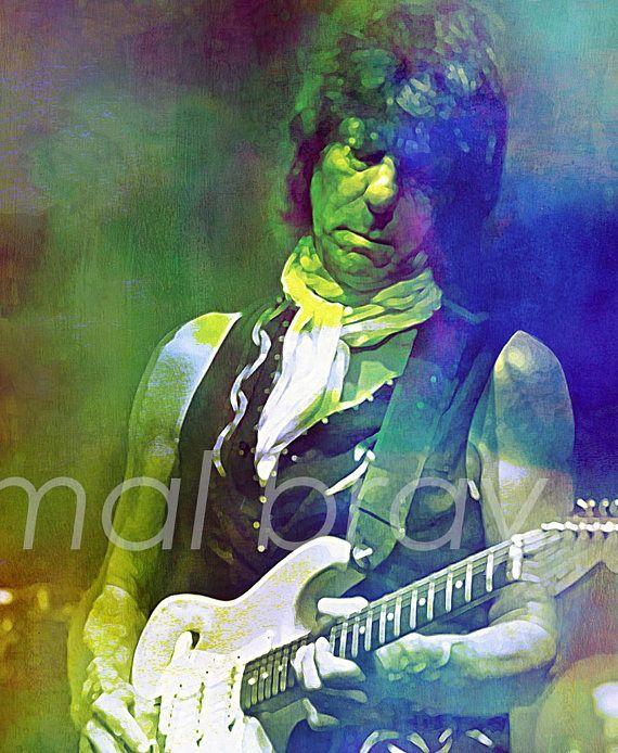 Jeff Beck Love Is Green Print Poster Jeff Beck Musician Art Rock Art