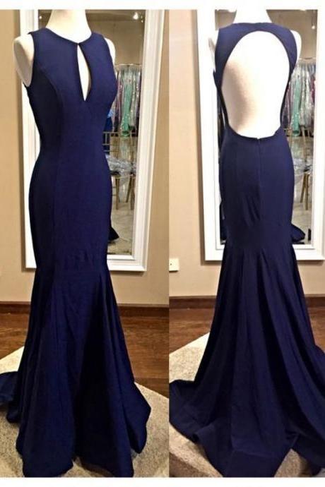 Navy Blue Prom Dress,Scoop Prom Dress,mermaid Party Dress ,Mermaid Prom Dress,Custom Prom Dresses ,Evening dresses, Prom Dresses,Long Prom Dress,17602