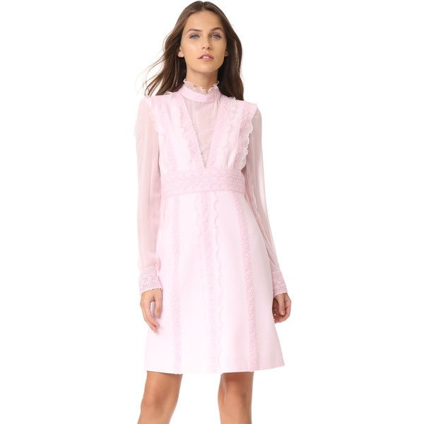 Giambattista Valli Long Sleeve Dress ($2,475) ❤ liked on Polyvore featuring dresses, magnolia, pink dress, stripe dress, pink striped dress, pink long sleeve dress and pink frilly dress