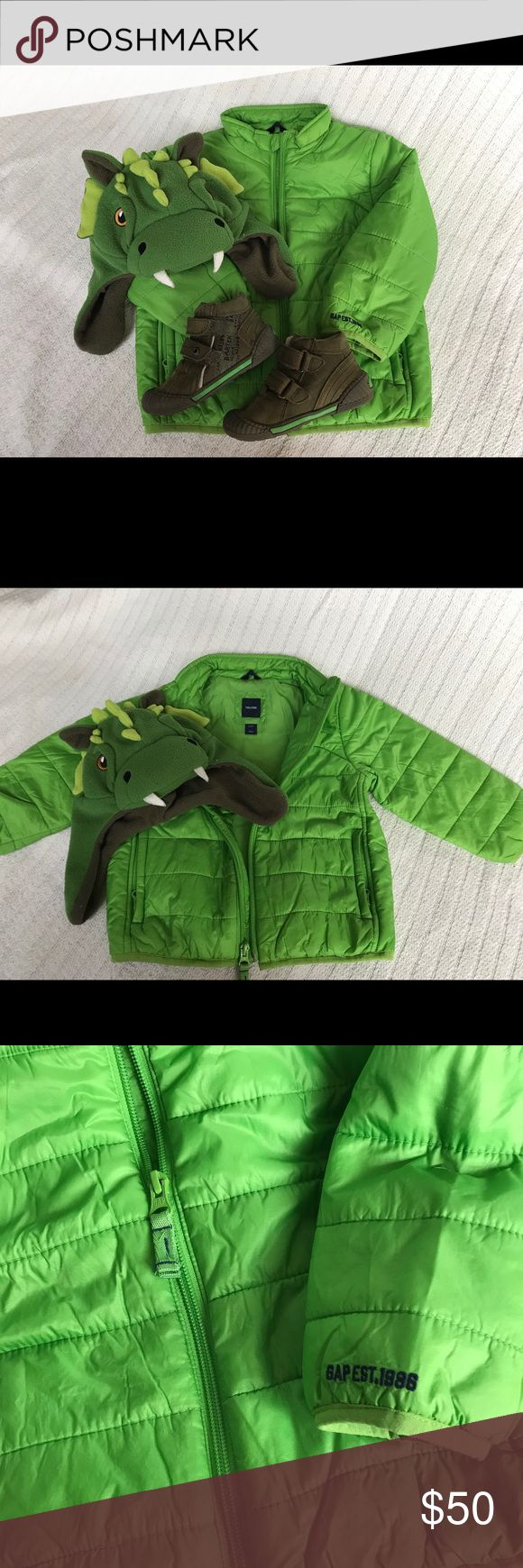 Baby Gap 🎉BUNDLE 🎉jacket coat 2T hat shoes boots Beautiful bundle for your little boy.  Jacket is prima loft by Gap, size 2.  Dinosaur hat is also by Gap size XS/S.  I am also including beautiful European all leather boots.  Therese are very high quality shoes, size European 23, us 6/12-7.  All pieces are in excellent condition, shoes are like new.  Check out my other listings for snow bibs and more. GAP Jackets & Coats Puffers