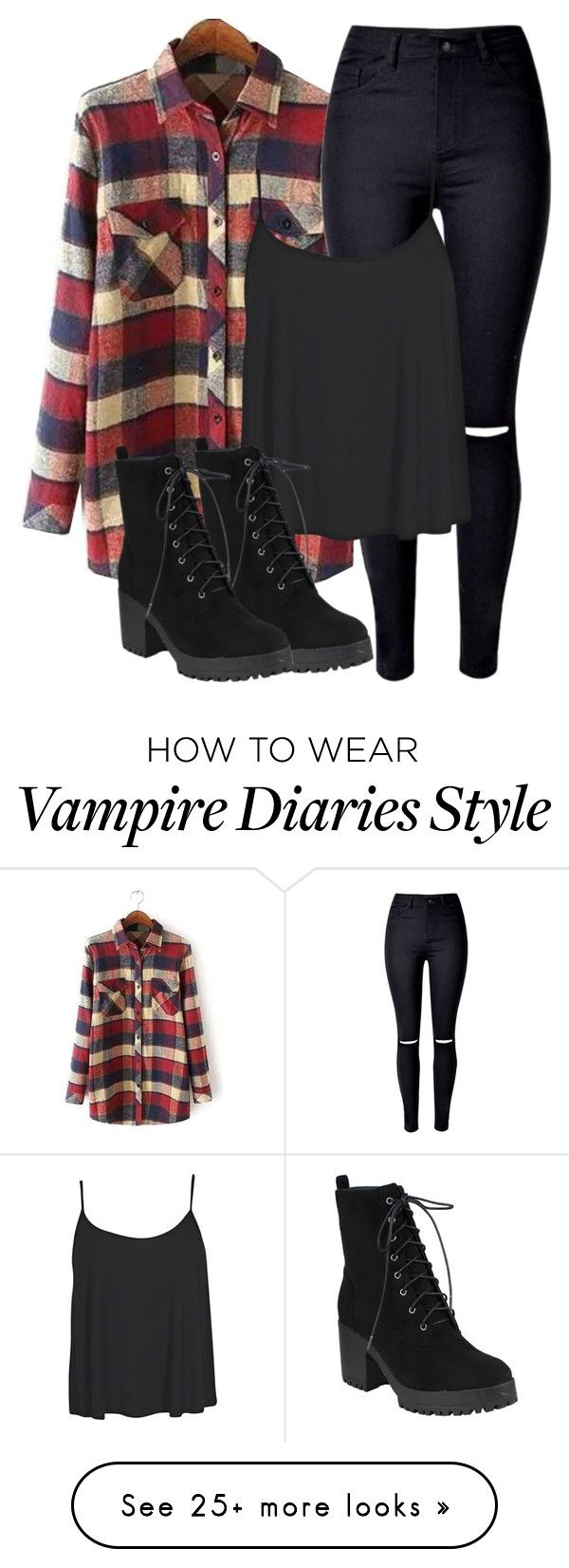 """Stefan Inspired Outfit - The Vampire Diaries / The Originals"" by fangsandfashion on Polyvore featuring WithChic and Boohoo"