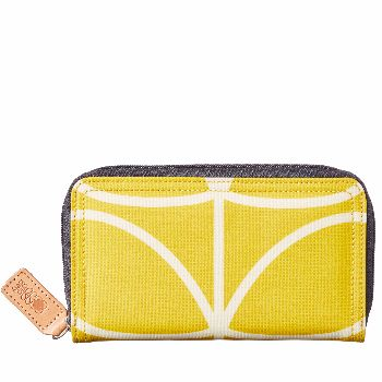 Orla Kiely Orla Kiely Giant Linear Stem Zip Wallet: Matte laminated wallet in the Giant Linear Stem print with sand Linear Stem jacquard lining and contrast coloured zip to close.