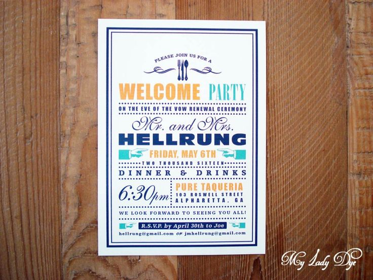Modern Rehearsal Dinner Invitation by My Lady Dye.  A fun and colorful typography style invitation featuring a fun mix of font types.