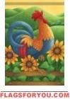 Sunflower Rooster Garden Flag