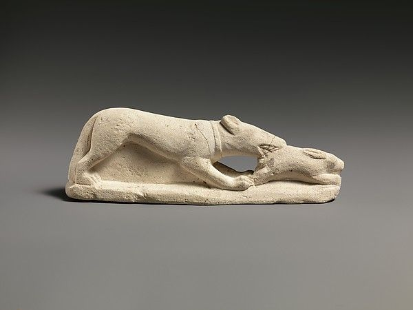 Limestone statuette of a coursing hound seizing a hare, ca. 5th or 4th century B.C. The Metropolitan Museum of Art, New York. The Cesnola Collection, Purchased by subscription, 1874–76 (74.51.2666).
