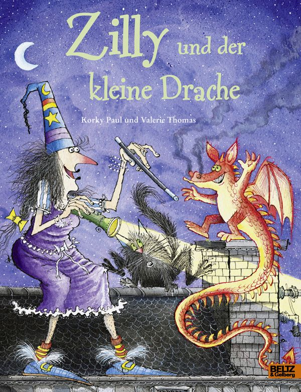 """In """"Zilly und der kleine Drache"""" von Valerie Thomas und Korky Paul werden die Zauberin und ihr Kater von einem Drachenkind um den Schlaf gebracht. Rezension von der Buchhexe."""