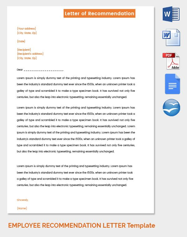 Simple Employee Recommendation Letter Free