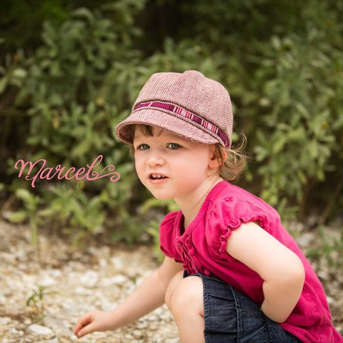 Maroon Herringbone Newsgirl Toddler Girl Hat