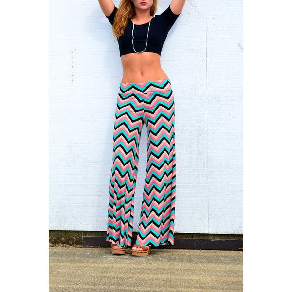 Coral Aqua Chevron Striped Wide Leg Palazzo or Flare Leg Bell Bottom... ($49) ❤ liked on Polyvore featuring pants, grey, women's clothing, high-waisted yoga pants, sheer yoga pants, wide leg palazzo pants, foldover yoga pants and loose yoga pants