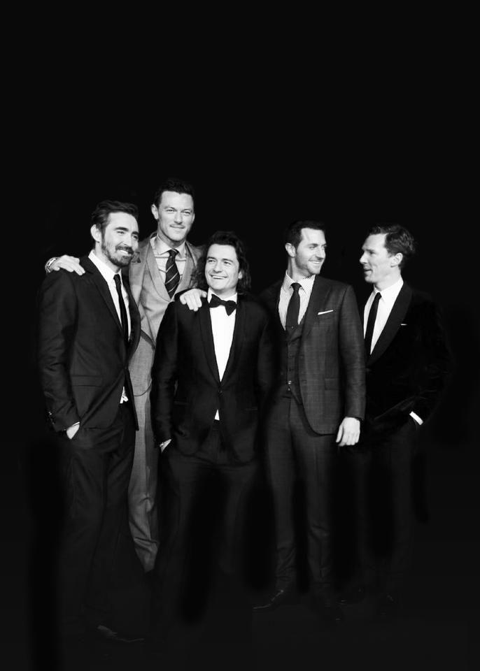 Lee Pace (Thranduil), Luke Evans (Bard), Orlando Bloom (Legolas), Richard Armitage (Thorin), and Benedict Cumberbatch (Smaug). :D