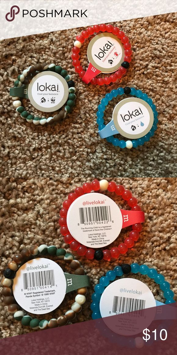 Lokai! bracelets Lokai! bracelets in camp, red, and blue. One of each. Size medium. Brand new with tags. Offers welcome. Let me know which colour you'd like. Lokai Jewelry Bracelets