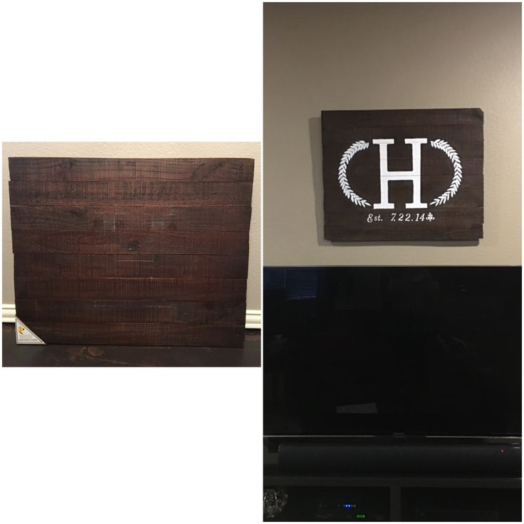 Monogram on stained pallet wood. Very rustic art! I bought a dark stained blank pallet sign from Hobby Lobby for $25 on sale and decided to create my own design on it. It already had the hanging hardware attached. I free hand drew and painted the initial with craft paint. I used stencils for the wedding date  and design around the H. I hung it in my living room as a main focal point in the room. 😊