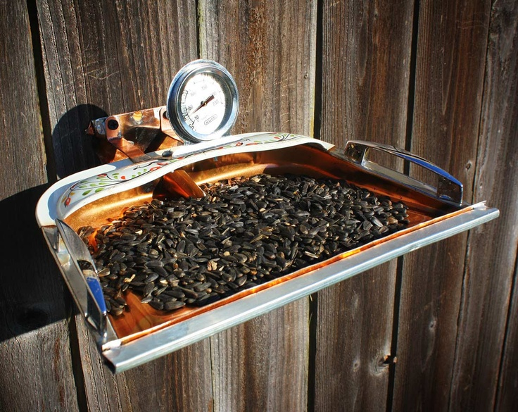 Repurposed upcycled recycled bird feeder dust pan copper for Upcycled bird feeder