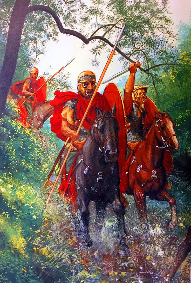 Caesar's Roman cavalry pursuing fleeing Gauls during the Gallic War