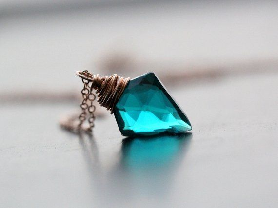 Arrowhead Necklace in Rose Gold, Teal Quartz Gemstone Pendant, Gold Silver Crystal Gifts, Boho Layering – Arrow (the original design)