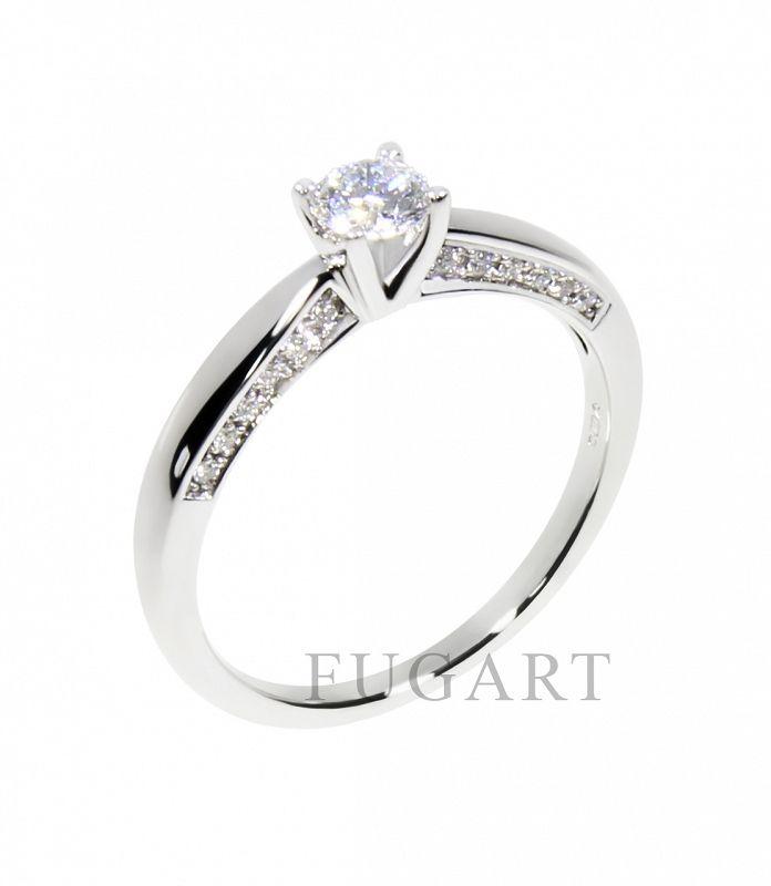 Zaręczynowy pierścionek z białego złota z brylantami 3133WG/35 - Sklep