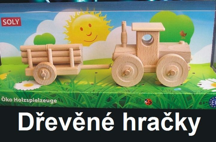 Dřevěné hračky, lestní traktor s přívěsem