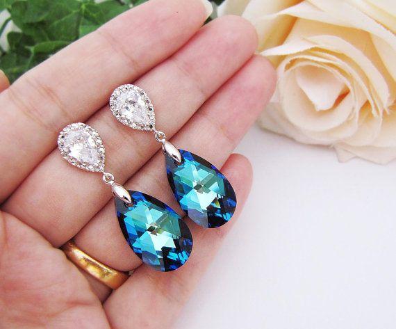 bermuda blue Swarovski Crystal: Jewelry Bridesmaid, Something Blue, Blue Weddings, Accessories, Jewelry Ideas, Earringsn, 36 00, Wedding Jewelry Blue, Aodai