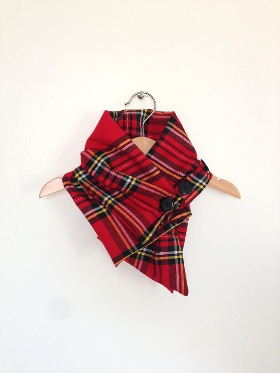 Toddler scarf, bandana scarf red plaid, baby toddler neckwarmer, baby clothes UK, black and red tartan on Etsy, $20.25