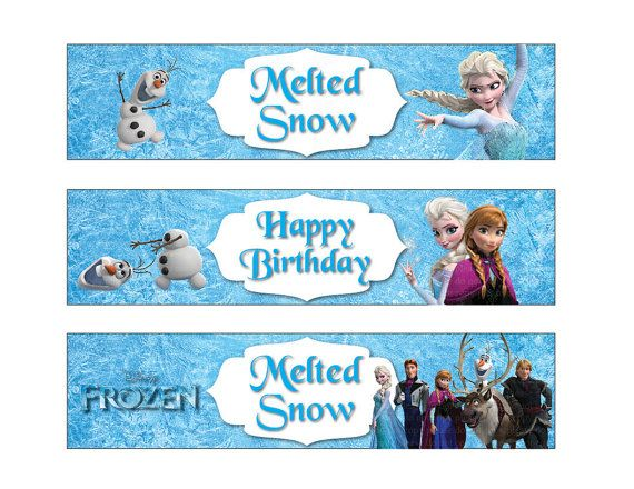 Frozen Water Bottle Label Non Personalized Disney Frozen