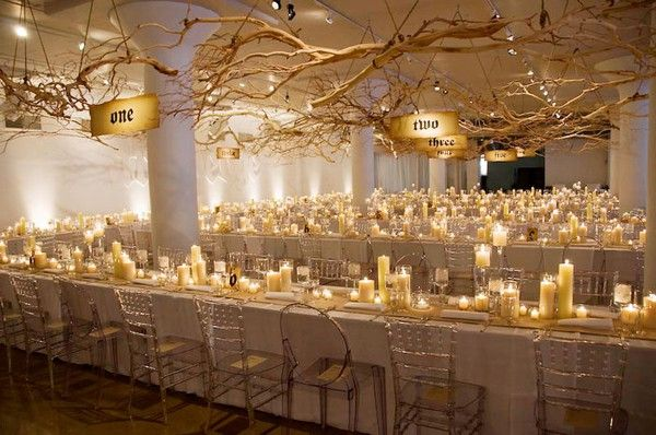 Hanging Floral Centerpieces // love the mix of rustic in a modern setting: Floral Centerpieces, Idea, Candles, Trees Branches, Harry Potter, Tables Numbers, Wedding Centerpieces, Long Tables, Flower