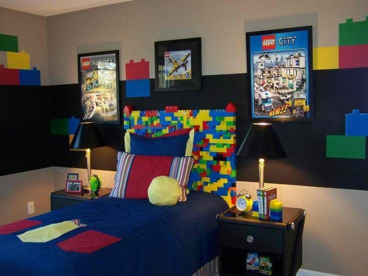 is your son obsessed with legos create a lego mural as a headboard and other great boy room ideas