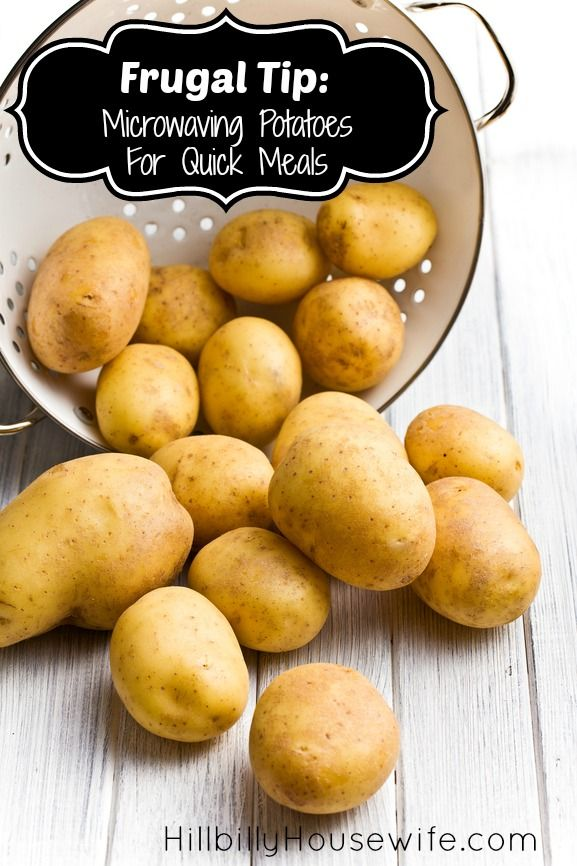 Great tip for cooking potatoes in the microwave and using them for frugal meals.