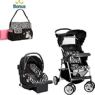 zebra stroller car seat lot plus diaper bag girl baby animal print travel system reborn baby. Black Bedroom Furniture Sets. Home Design Ideas