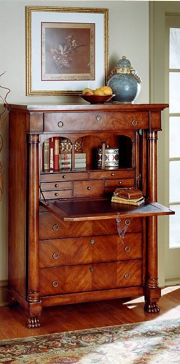 Butler- Elegant Hand Carved Wood Secretary Desk with Drawers in Plantation Cherry