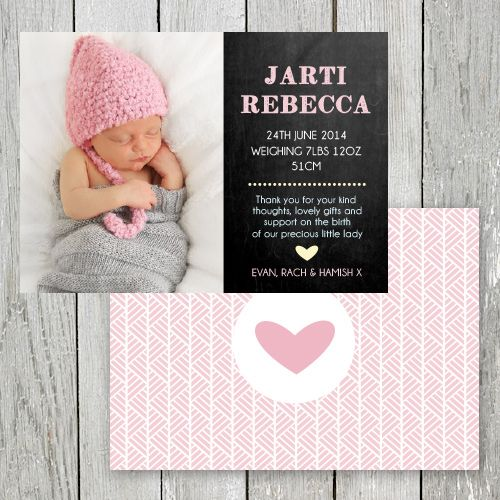 Photo Birth Announcement Baby Thank You card printed on – Printed Birth Announcements