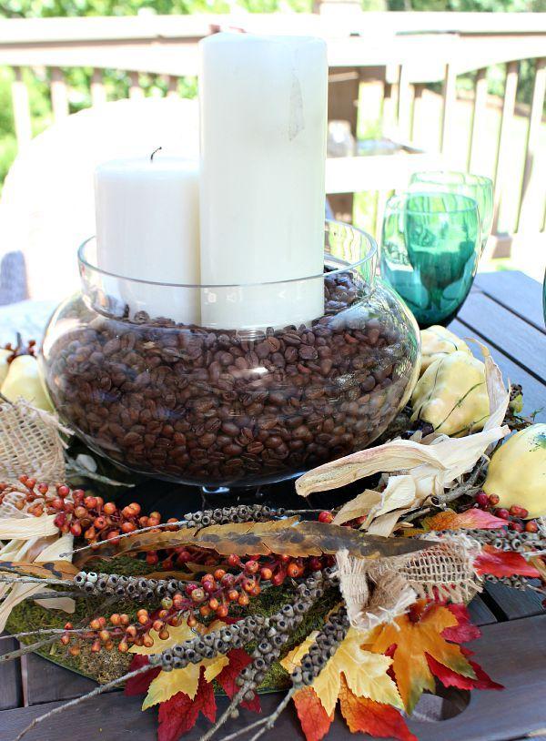 Incorporate Coffee Beans - Fall Centerpiece Ideas